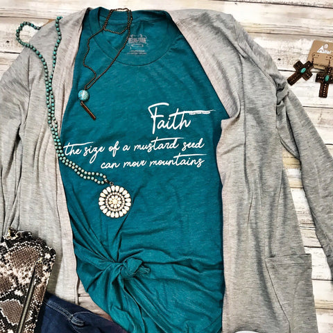 Texas True Threads Teal Faith Mustard Seed T-Shirt