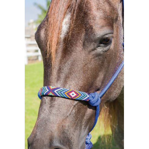 Professional Choice- Royal Blue Beaded Rope Halter