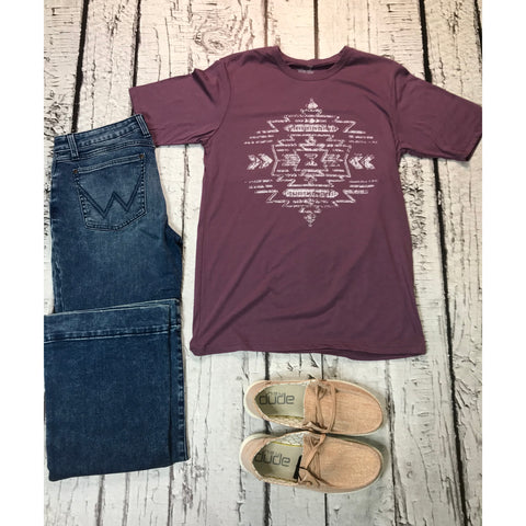 Texas True Threads Southwest Aztec Purple Tee