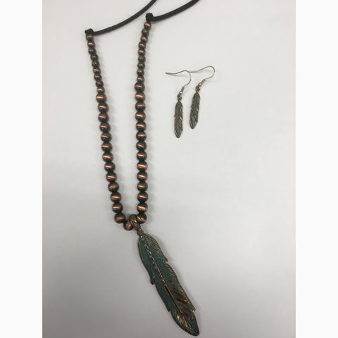 Turquoise and Brown Feather Bead Jewelry Set