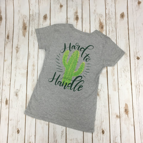 Women's Grey and Green Hard To Handle Tee