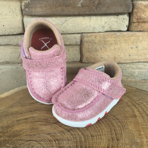 Western Edge Exclusive Twisted X Pink Glittery Infant Moc