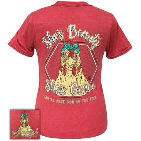 Women's Red Beauty and Grace Tee