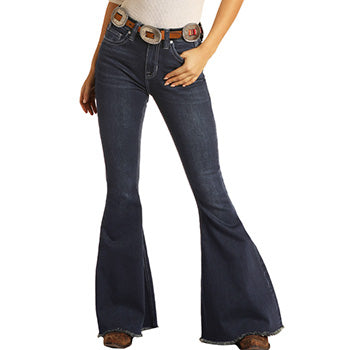 Dark High Rise Stretch Bell Bottom Jeans