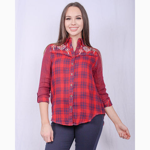 Women's Red and Blue Plaid Aztec Long Sleeve