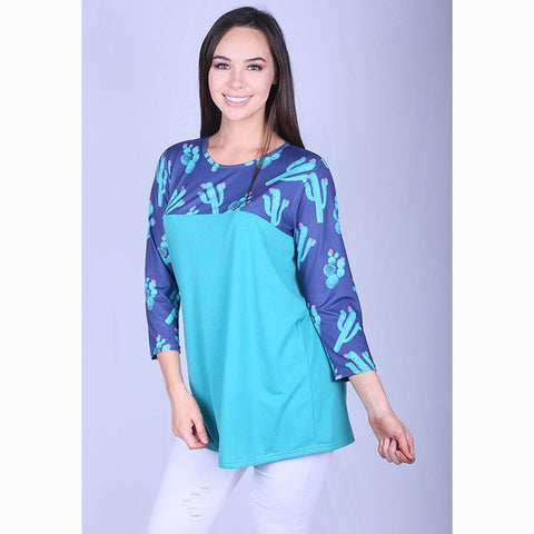 Women's Turquoise and Navy Cactus Shirt