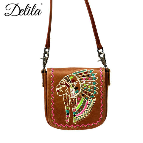 Montana West's Delila Brown Leather Chief's Head Crossbody Bag
