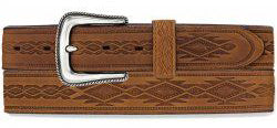 Tony Lama Men's Brown Navajo Blanket Tooled Belt