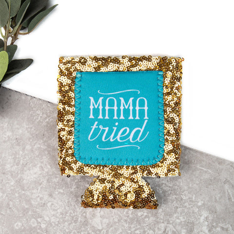 Gold Sequin Mama Tried Koozie