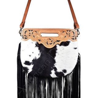 American Darling Black and White Hide Fringe Cross Body Purse