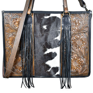 American Darling Hide Tooled Fringe Purse