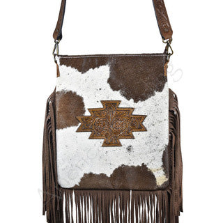 American Darling Brown Hide Fringe Cross Body Purse