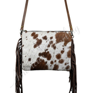 American Darling Brown and White Fringe Cross Body Purse