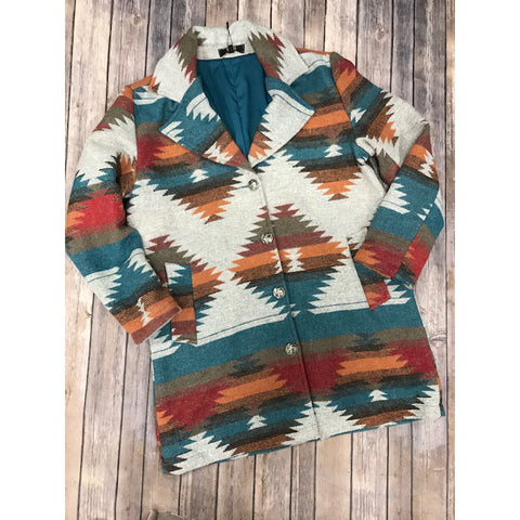L&B Grey with Teal and Orange Aztec Jacket