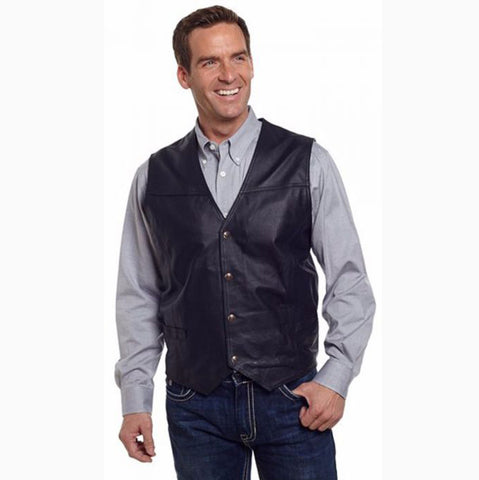 Men's Black Snap Leather Vest