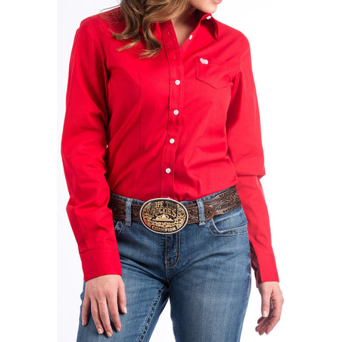 Cinch Women's Solid Red Long Sleeve Western Shirt