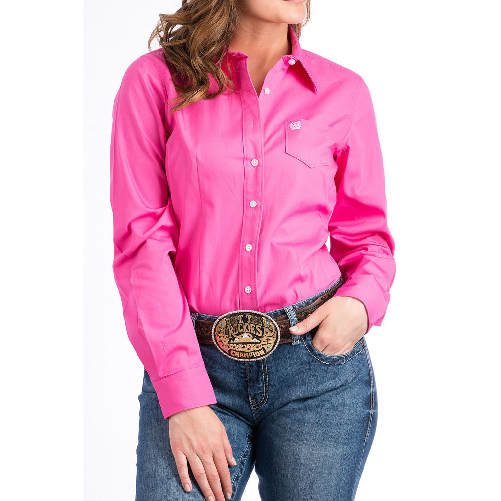 Women's Cinch Solid Pink L/S Shirt