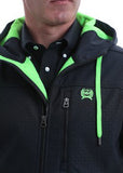 Cinch Black and Lime Textured Bonded Hoodie Jacket