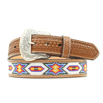 Multi Colored Bead Inlay and Basket Weaved Belt