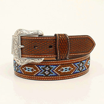 Tan and Brown Beaded Aztec Belt