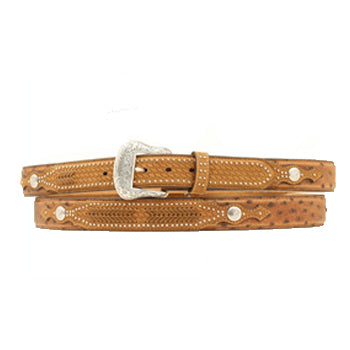 Nocona Men's Brown Ostrich and Lace Overlay Belt