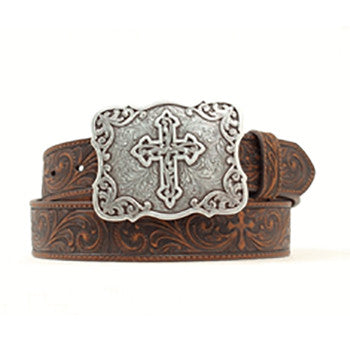 Nocona Women's Brown Tooled Cross Belt