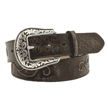 Nocona Women's Black Antique Scroll Belt