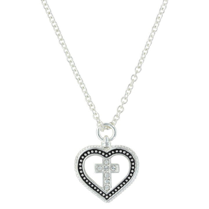 Montana Silver Women's Silver and Black Heart and Cross Necklace