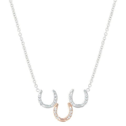 Montana Silver Women's Two Tone Triple Horseshoe Necklace