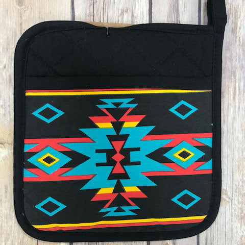 Black with Turquoise Aztec Pot Holder