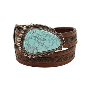 Nocona Girl's Brown Pierced Belt with Turquoise Stone Buckle
