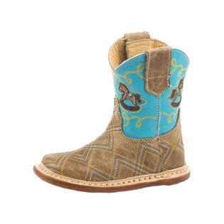 Roper Infant Tan Zig Zag and Blue Square Toe Boots