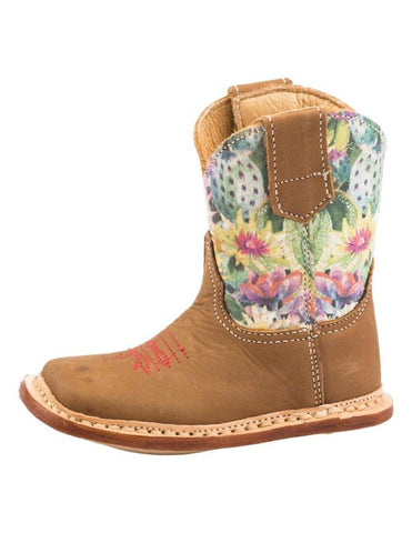 Roper Infant Leather Tan Cactus Print Boots
