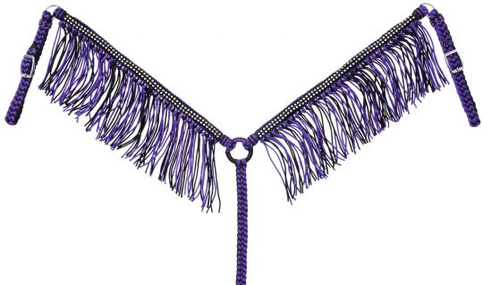 JT Purple/Black/Fringe Breast Collar