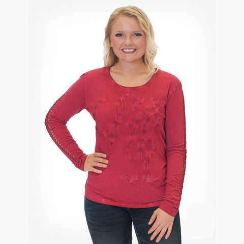 Cowgirl Tuff Women's Red Never Give Up Long Sleeve Shirt