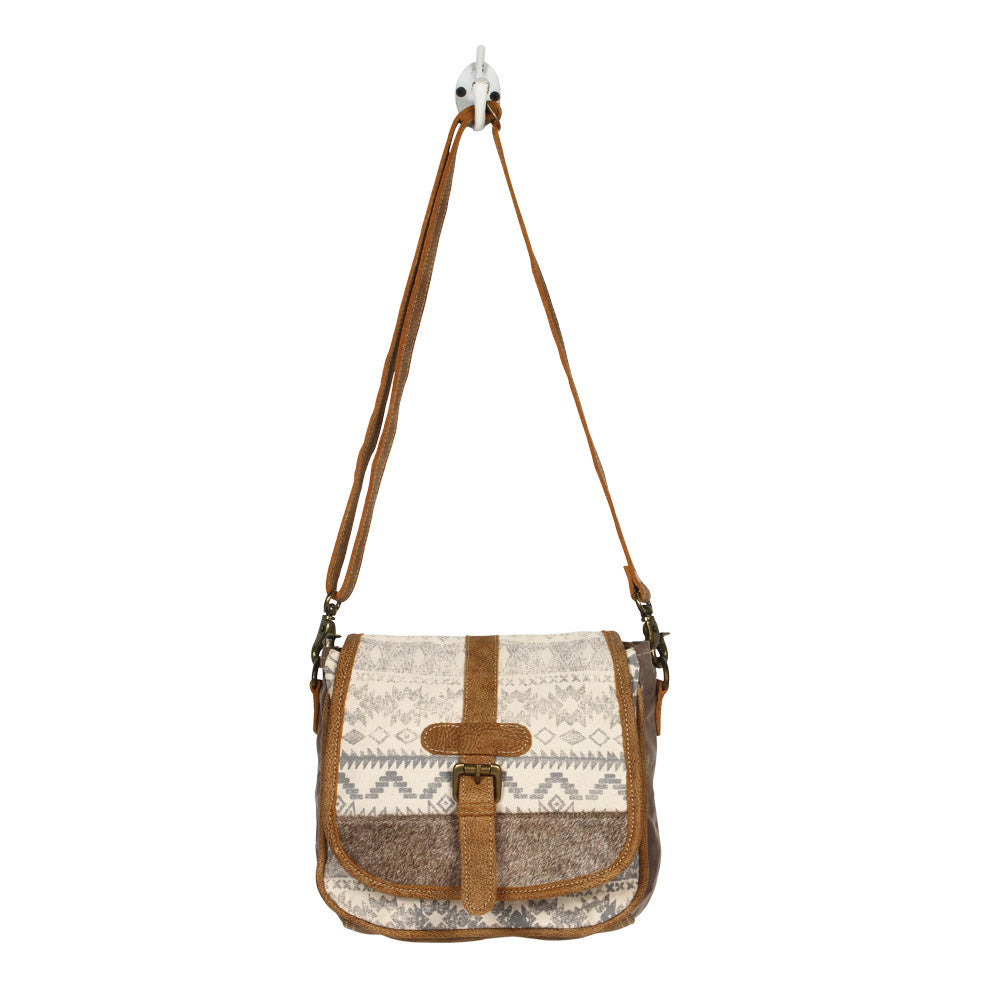 Grey Hide and Aztec Flap Cross Body Purse