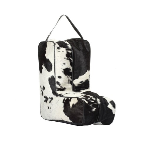 Black and White Hide Boot Bag