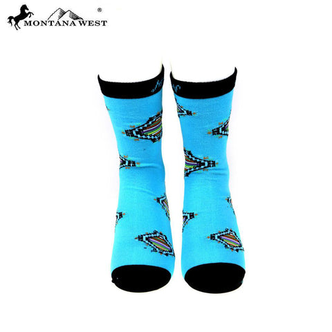 Montana West's Aztec Collection Turquoise Classic Crew Sock