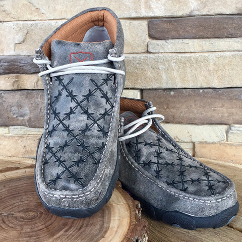 WE Exclusive ~ Twisted X Men's Grey and Black Barbwire Driving Moc
