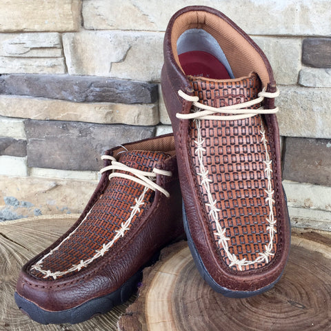 WE Exclusive ~Twisted X Men's Brown Tooled Barbwire Driving Moc