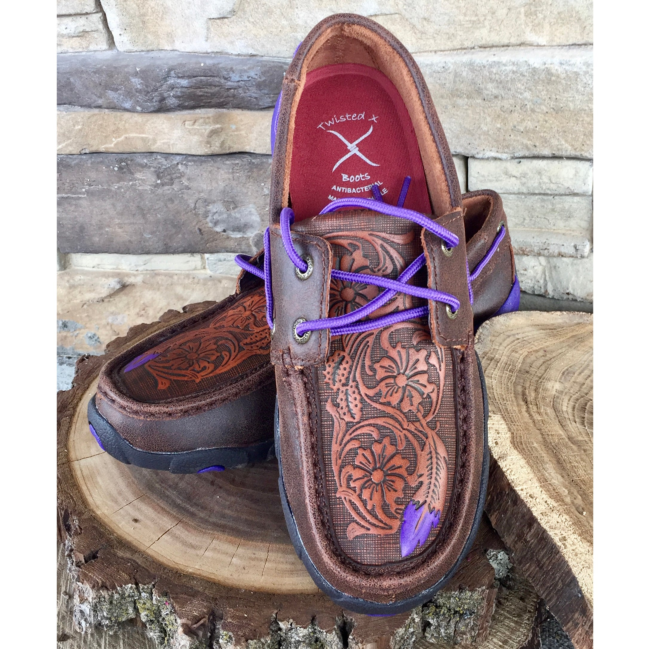 Twisted X Women's Violet Tooled Feather