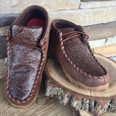 WE Exclusive ~Twisted X Kid's Brown Floral Embossed Driving Moc