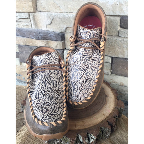 WE Exclusive~ Twisted X Kid's Tan Floral Embossed Driving Moc