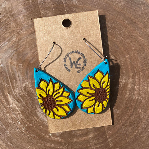 Handcrafted Turquoise Sunflower Earrings