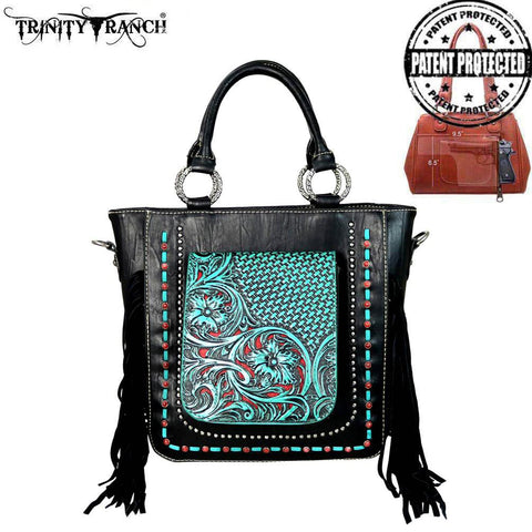 Montana West's Trinity Ranch Black Concealed Handgun Tote/Crossbody Bag