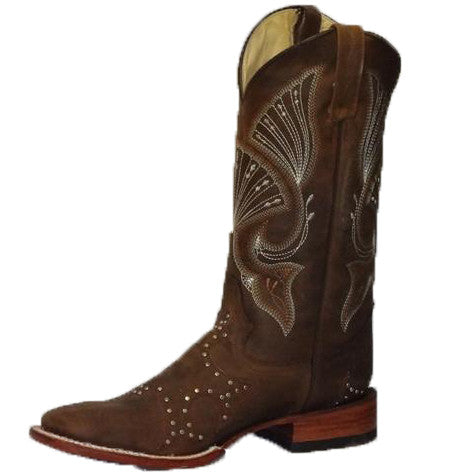 Ferrini Men's Brown Studded Square Toe Boot