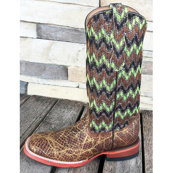 Ferrini Women's Snake Print and Chevron Square Toe Boots