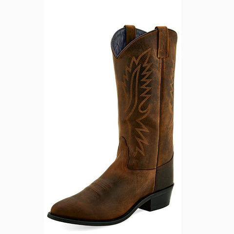 Old West Men's Brown Round Toe Boot