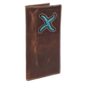 Twisted X Rodeo Distressed Brown and Turquoise Wallet