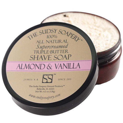 Supercreamed Triple Butter Shave Soap for Shaving, Almond and Vanilla
